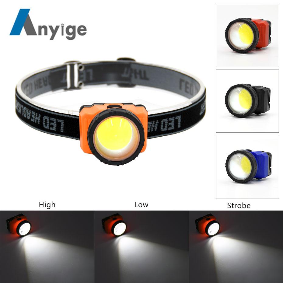 COB LED 3Mode Headlamp Headlight Waterproof Adjustable Camping Torch Lamps Light