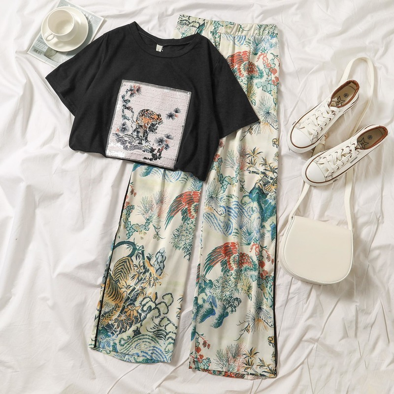 Vintage Beach Style   Wide     Leg     Pant   Women Fashion Black White Short Sleeve T-shirt Chinese Traditional Pattern Casual Wear trouser