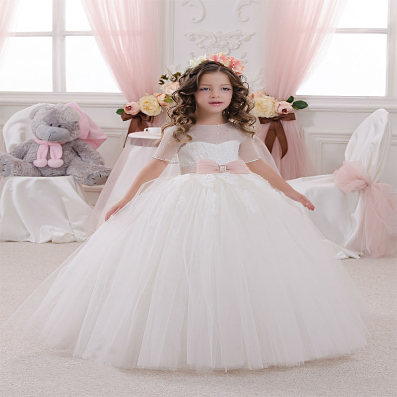 Ball Gown Flower Girls Dresses for Wedding Ankle-Length Holy Communion Dresses for Girl Hand Make Mother Daughter Dress With Bow 2017 new flower girls dresses for wedding gown ball gown vintage communion dresses ankle length mother daughter dresses with bow