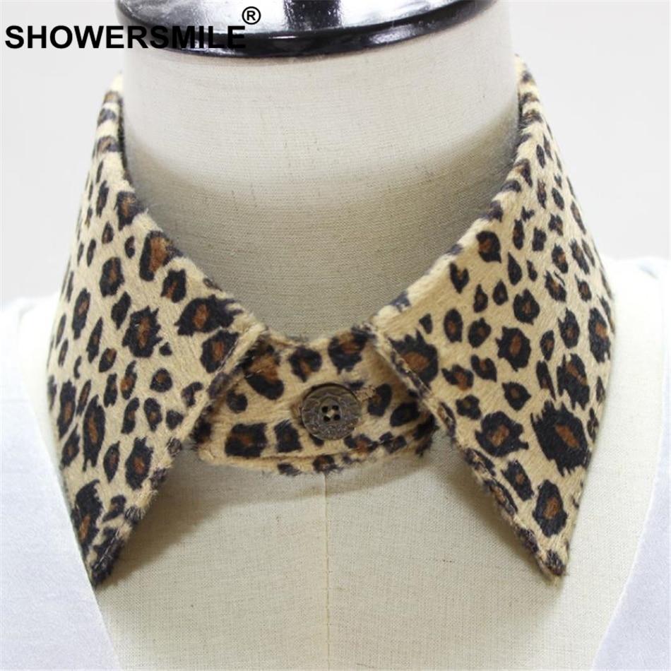 SHOWERSMILE Leopard Print Detachable Collar Removable Women Shrot Point Fake CoIlar Vintage Ladies Faux Collar