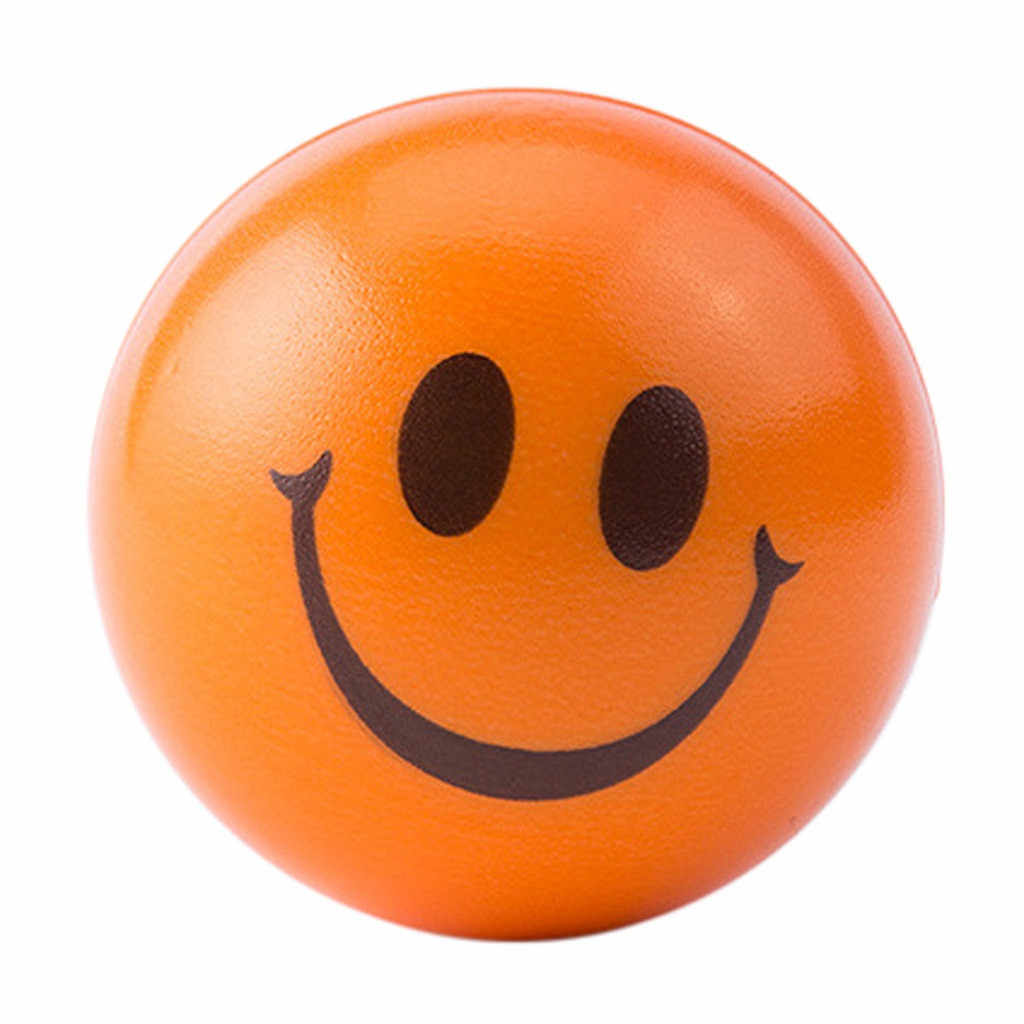 Stress Ball Smile Face Print Sponge Foam Squeeze Relief Yoga Gym Fitness Hand To