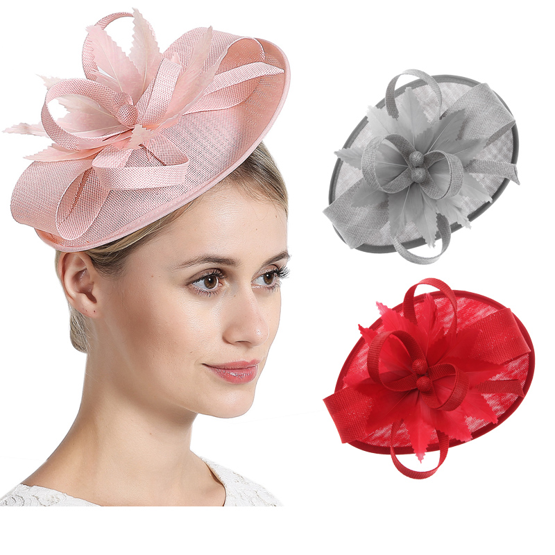 Vintage Hair Accessory Women Feather Fascinator Hair Clips Elegant Wedding Bridal Party Headpiece for Prom Cocktail   Headwear