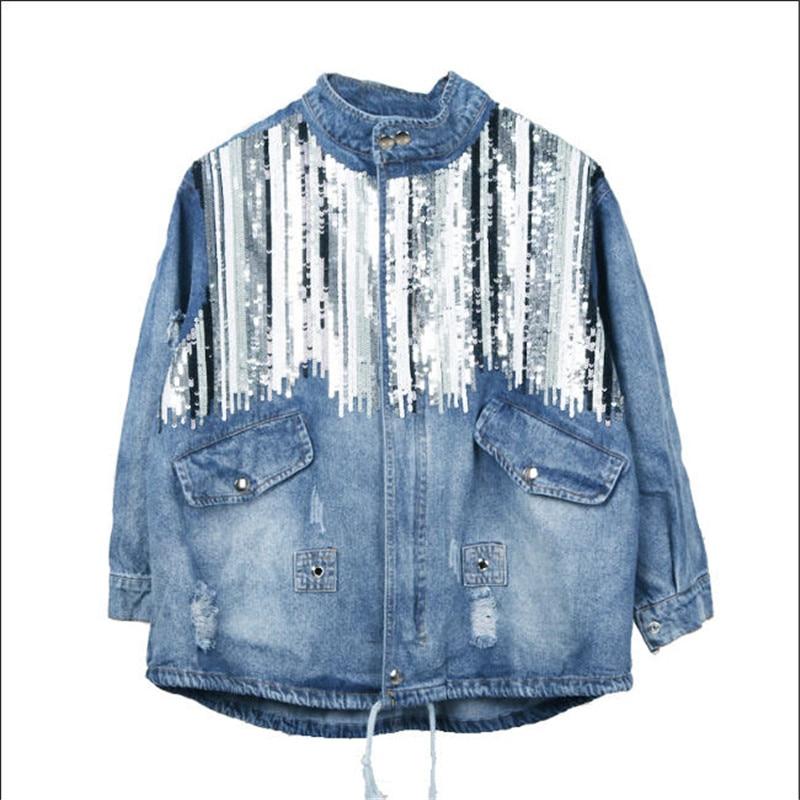 Femmes Bling Chaquetas Boho Denim Light De Bleu Mujer Veste A1697 Hippie Paillettes Blue Longues Vintage Manteaux Manches Chic Mode XxnF5qfF