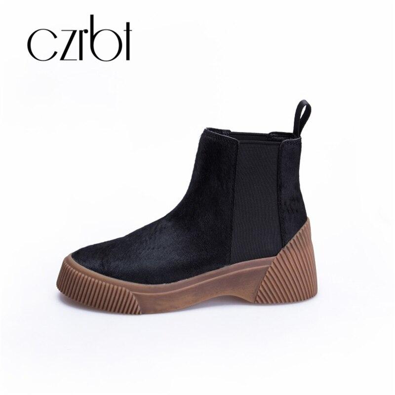 CZRBT 2018 chaussures femmes de nouveau crin anti-dérapage résistant à l'usure chaussures en cuir pleine de femmes imprimé léopard femmes de bottes
