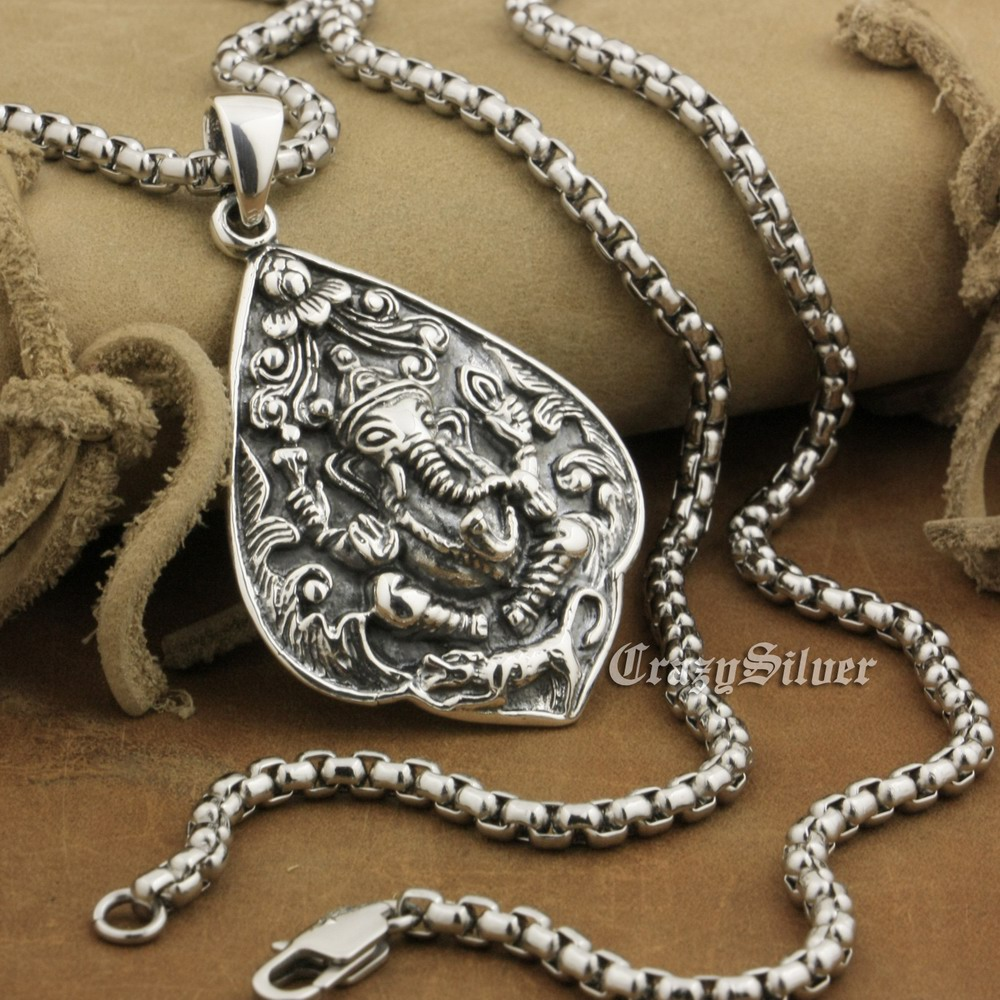 925 Sterling Silver Ganesh Hindu Lord God Mens Biker Punk Pendant 8A037 Stainless Steel Necklace 24 inches solid 925 sterling silver skull mens biker pendant 8c011 with matching stainless steel necklace