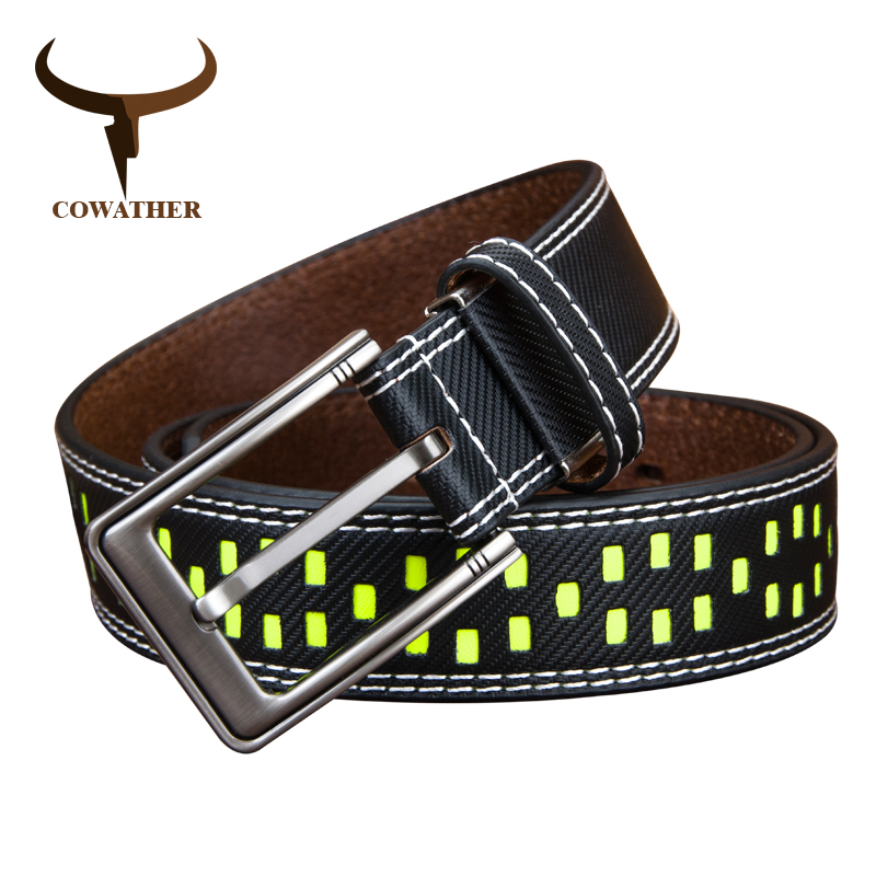 COWATHER vache en cuir véritable ceintures pour hommes 2017 nouveau concepteur de haute qualité Fluorescence 130 cm boucle ardillon dropshipping