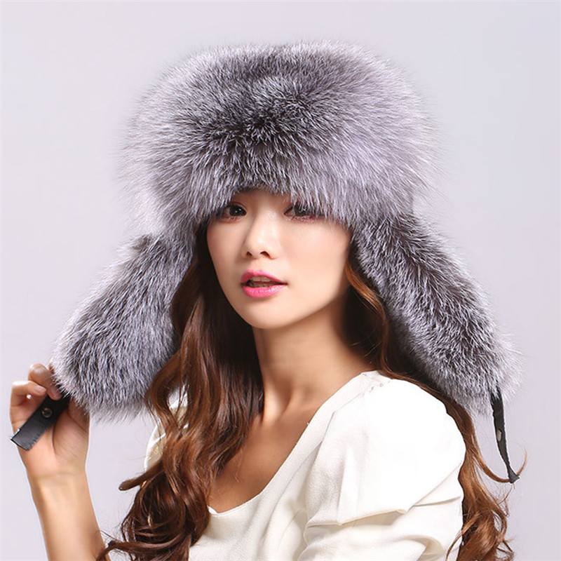 New Hot Faux Fur Hat With Scarf Mittens Fashion Winter Warm Cute Raccoon Bomber Fox Fur Hat For Women Thick And Warm Fur Cap 100% Original Apparel Accessories