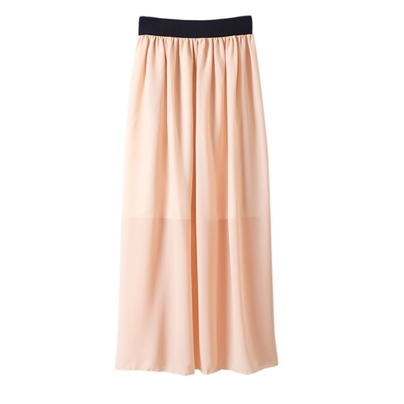 Women Summer Elastic Waist Long Skirt Fashion Solid Double Layer Chiffon Pleated Skirts High Waist Female Skirt Price $6.19