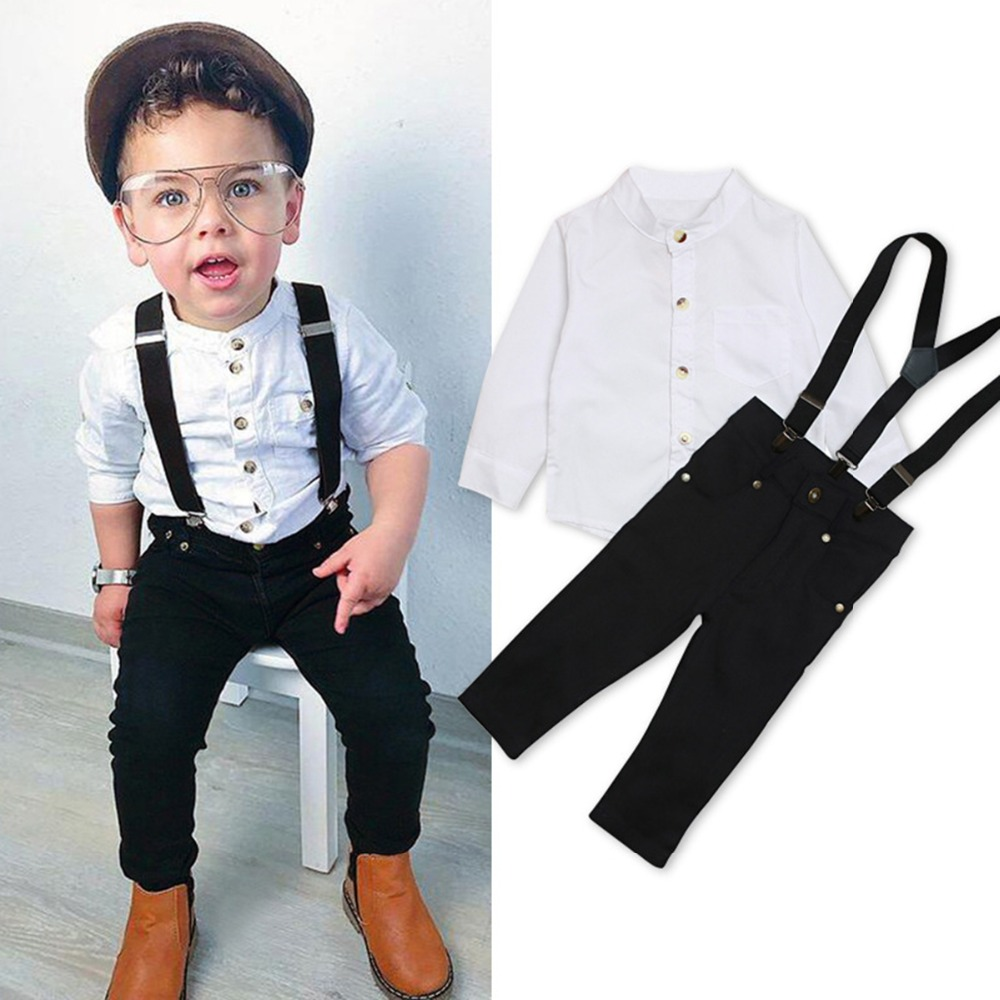 Puseky Toddler Baby Boy Bow Tie Shirt Tops+Denim Pants Gentleman Clothes Outfits 3~4 Year