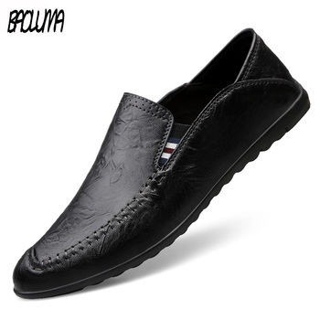 Fashion Leather Men Casual Shoes Luxury Brand Mens Loafers Moccasins Breathable Slip on Black Driving Shoes flats Soft Bottom