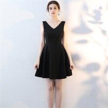 4a3ff1b54c4 Sans manches femme Slim Mini robe de soirée noir Sexy col en v robes de bal  50 s Audrey Hepburn robes élégantes robes