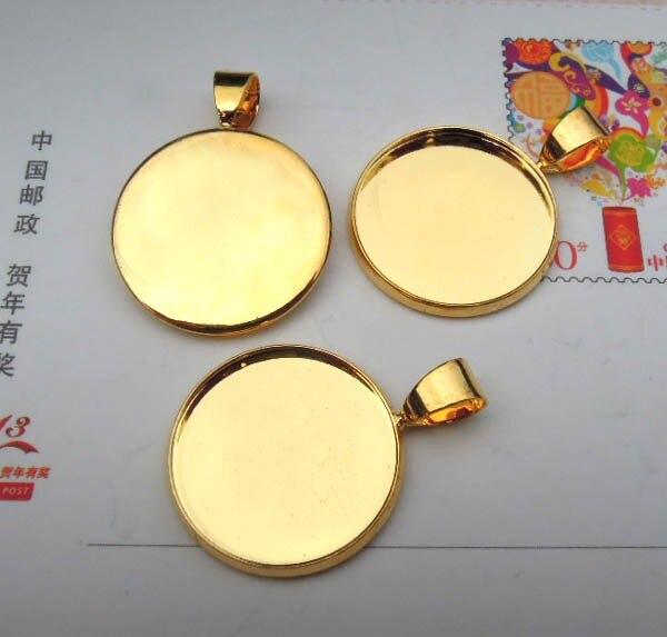 Пустая основа для подвесок изогнутый круглый ободок с Бейл разъем установки материалы для рукоделия DIY с золотистым покрытием Латунь