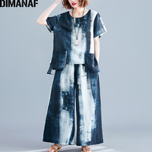 DIMANAF Plus Size Women Sets Summer Vintage Print Suit Big Lady Tops Shirt Loose Long Pants Cotton Female Clothes 2019