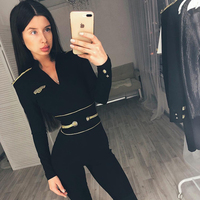 Sexy Deep V Long Sleeve Bandage Jumpsuits Women Black Bodysuits Fashion Full Runway Part Gold Button Romper Ladies Jumpsuit