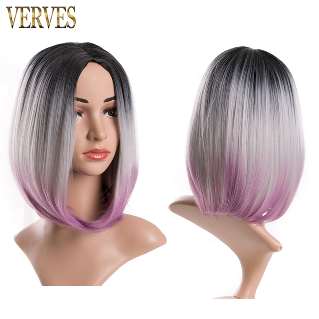 ombre synthetic wigs VERVES short wigs synthetic sexy female short haircut wigs three tone color Nice natural looking women wigs