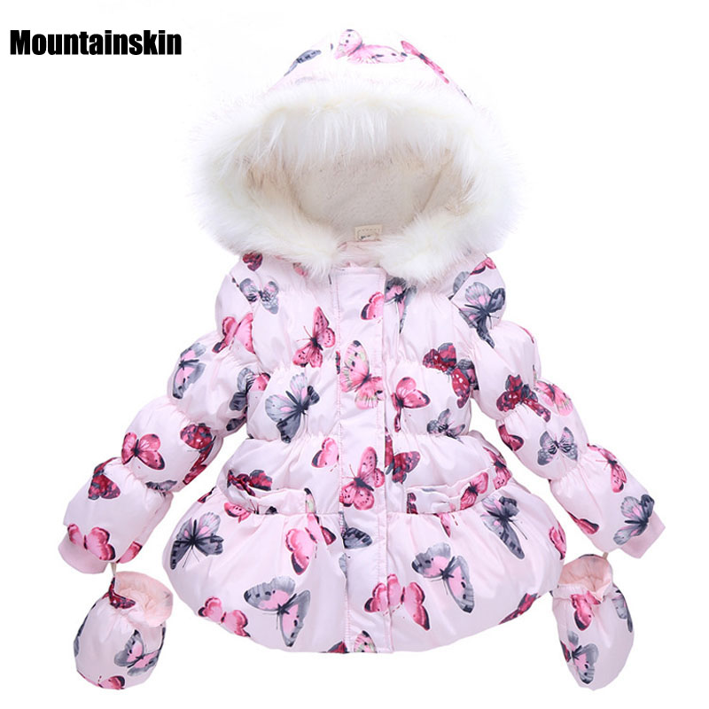 Butterfly Girls Winter Jackets Cotton-Padded Parkas 1-7Y Children's Hooded Coats Baby Girls Outerwear Brand Kids Clothes SC723 2017 winter children cotton padded parkas clothes baby girls