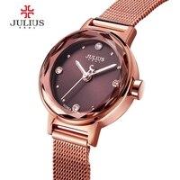 JULIUS Women's Quartz Watch Hardlex Window Gold Steel Mesh Belt Bracelet Hour Clock Luxury Gifts for Lover JA 917