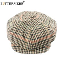 6303edccc3ac0 BUTTERMERE Newsboy Hats Berets Men Female Houndstooth Wool Tweed Gatsby Flat  Cap Casual Checkered Autumn Vintage Painters Hat