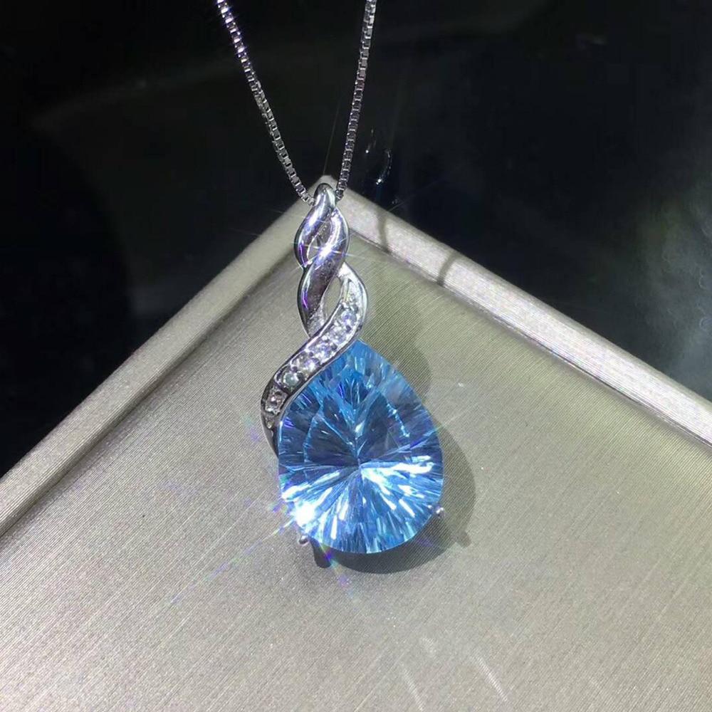925 Sterling pendentif en argent 12x16mm Réel Naturel bleu Aigue-Marine Topaze 18 K Blanc pendentif plaqué or pour Fille Cadeau sans chaîne