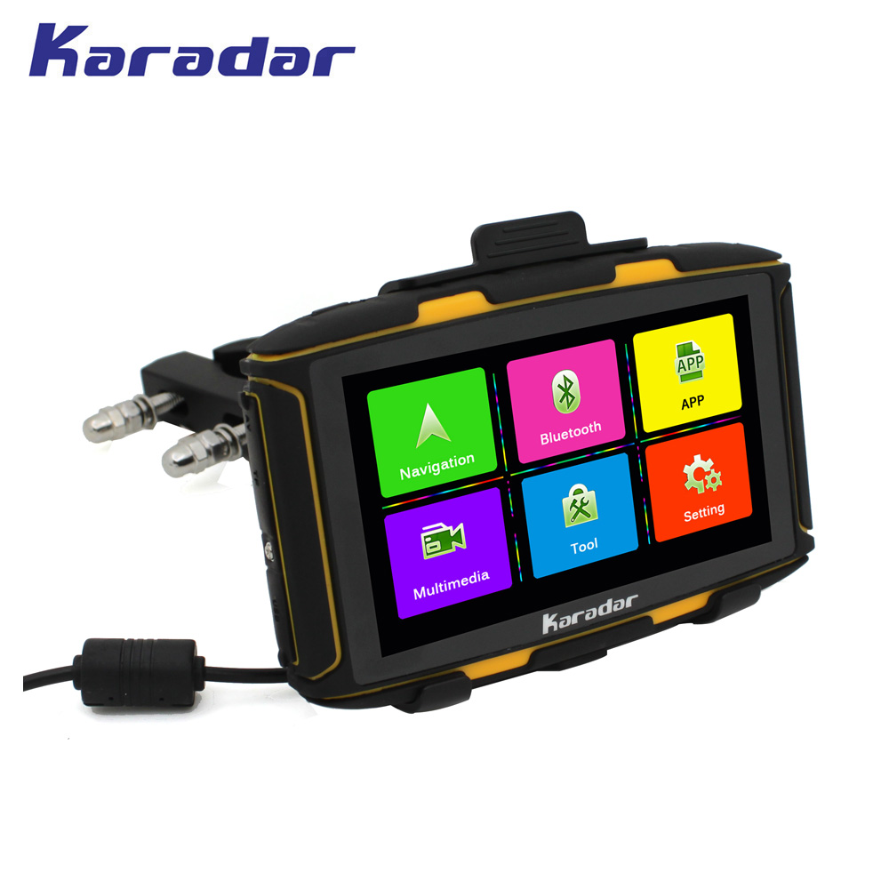 KARADAR Nest 5 inch IPS screen motorcycle GPS navigation Android 4.4.2 with WIFI bluetooth FM waterproof to IPX7 RAM 1G