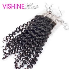 Vishine Hair Top Lace Closure 4X4 Brazilian Virgin Hair Kinky Curly Closure 8–18 inch Lace Closure Ms Lula Hair Lace Frontal