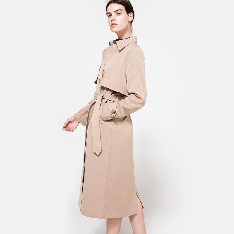 Haoduoyi Solid Khaki Women Street Casual Coats Autumn Turn Down Collar Double Breasted Outwears Natural Loose Trench Coats