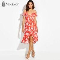 Vintacy Ruffle Cold Shoulder Sexy Dress Women Strap V Neck Wrap Lace Up Summer Beach Dresses