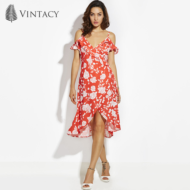 66bc03b29cc4 Vintacy Ruffle Cold Shoulder Sexy Dress Women Strap V Neck Wrap Lace Up Summer  Beach Dresses Boho Red Floral Long Party Dress