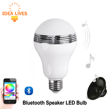 Smart LED Bulb Bluetooth Speaker LED RGB Light E27 Base Wireless Music Player with APP Remote Control.