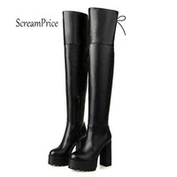 Women's Over The Knee Boots Platform Thick High Heel Boots Pu Leather Zip Lace Up Winter Fashion Ladies Shoes White Black
