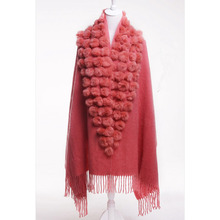 Free shipping new female scarf shawl pashmina thick winter natural rabbit fur pompom ball cape female muffler christmas gift