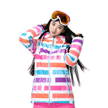 Stripe Winter Warm Women Skiing Jackets For Camping Hiking Outdoor Sports Single-boarding Clothing