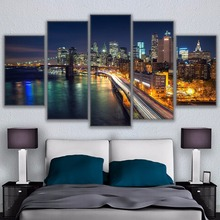 Modern 5pcs Canvas Wall Art of Brooklyn Bridge Waterfront City HD Painting