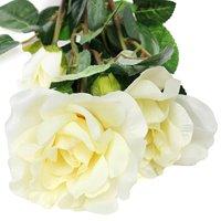 High Quality Solar Powered White 3 LED Rose Flower Lights Garden Outdoor Decorative Decor Landscape Rose