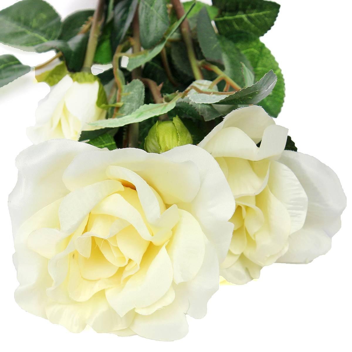 High Quality Solar Powered White 3 Led Rose Flower Lights Garden