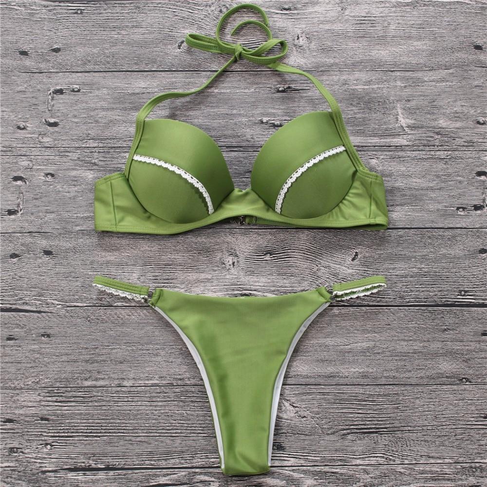 2018 Green Bikini Swimwear Sexy Swimsuit Women Beachwear Biquini Thong Bottom Girl Bathing Suit Brazilian Bikini Maillot De Bain brazilian tanga bikini 2016 swimwear women big bow thong bikini bottom sexy brazilian biquini bralette trajes de bano women