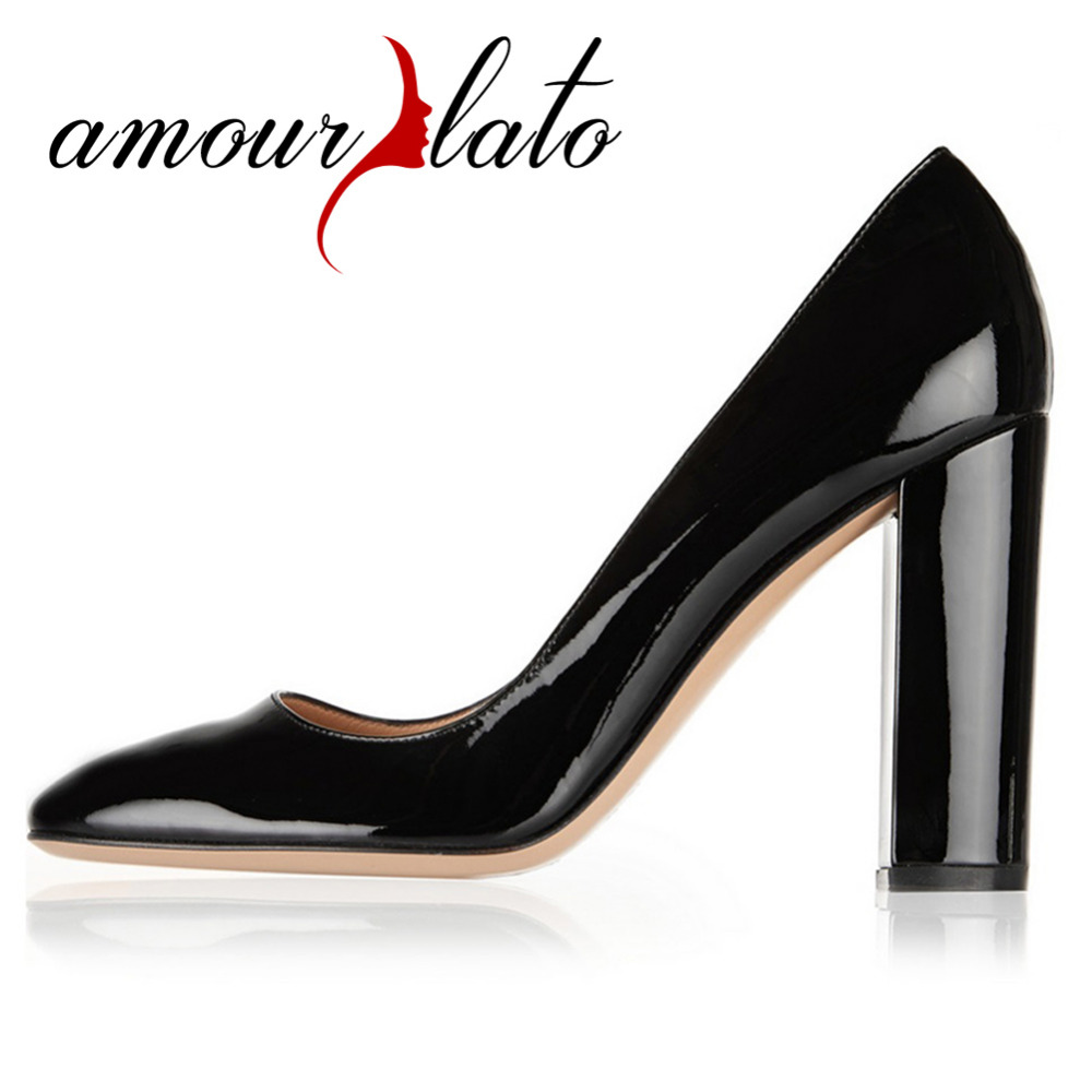 Amourplato Womens Round Toe 100mm High Heel Slip On Block Heel Pumps Party Office Cozy Chunky Heels Dress Shoes Thick Heels
