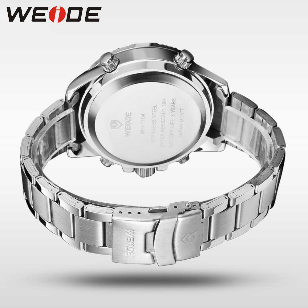 WEIDE תצוגה דיגיטלית Mens ספורט שעות יוקרה עסקים צבאי נירוסטה רצועת קוורץ שעוני יד שעון Relogio Masculino