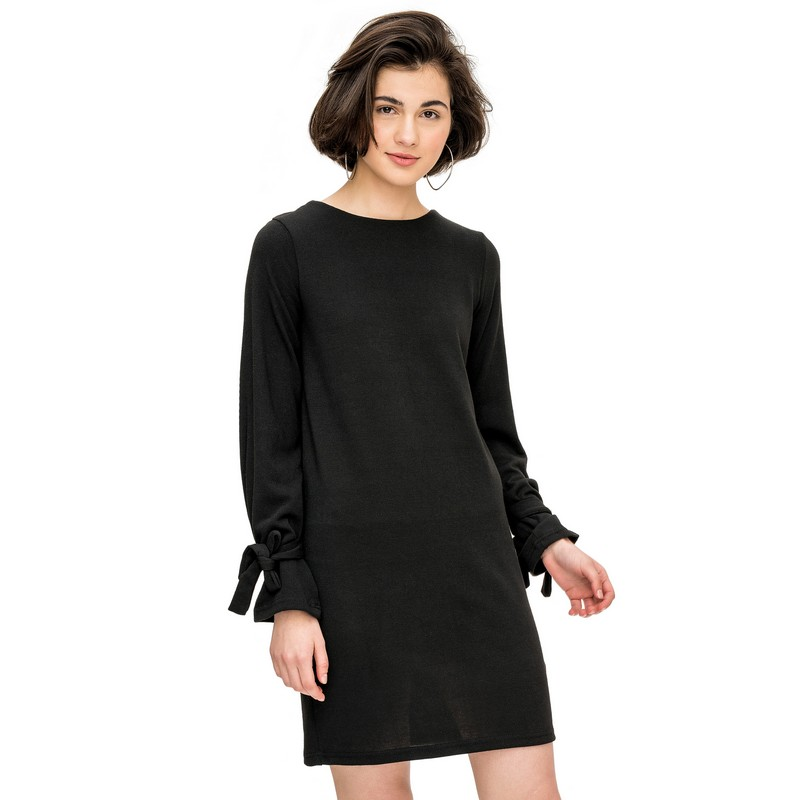 Dresses befree 1731533591 woman dress cotton long sleeve women clothes apparel casual spring for female TmallFS exaggerate bell sleeve buttoned keyhole dress