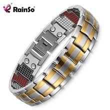 все цены на RainSo Male Bracelet 2019 Popular Fashion Dropshipping Bracelets & Bangles Charm Germanium Magnetic H Power Titanium Bracelet онлайн
