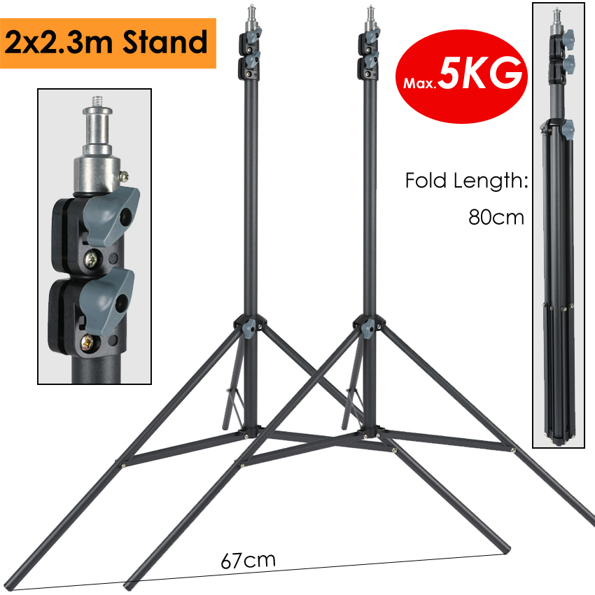2 X 230cm Heavy Duty Photography Light Stand Max Load 5KG Support Tripod For Photographic Lighting LLED Lamp Softbox Umbrella