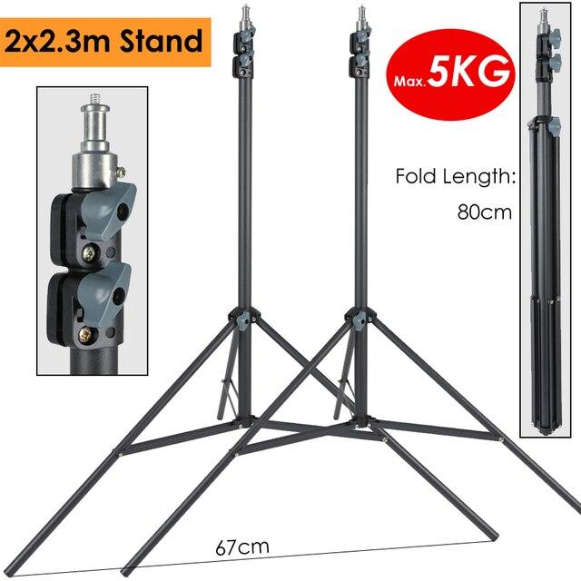 2x230cm Support de lumière de photographie robuste charge maximale 5KG Support trépied pour éclairage photographique LLED lampe Softbox parapluie