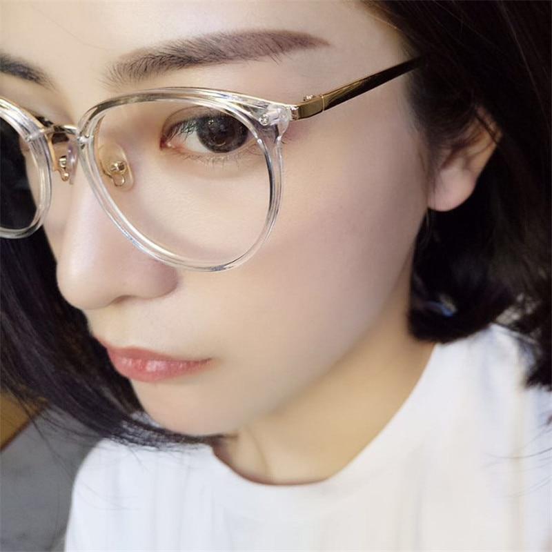 Vazrobe Transparent Lunettes pour Femmes Femme Ronde Lunettes Cadre Cercle Nerd TR90 + Alliage optique objectif clair unisexe hommes lunettes