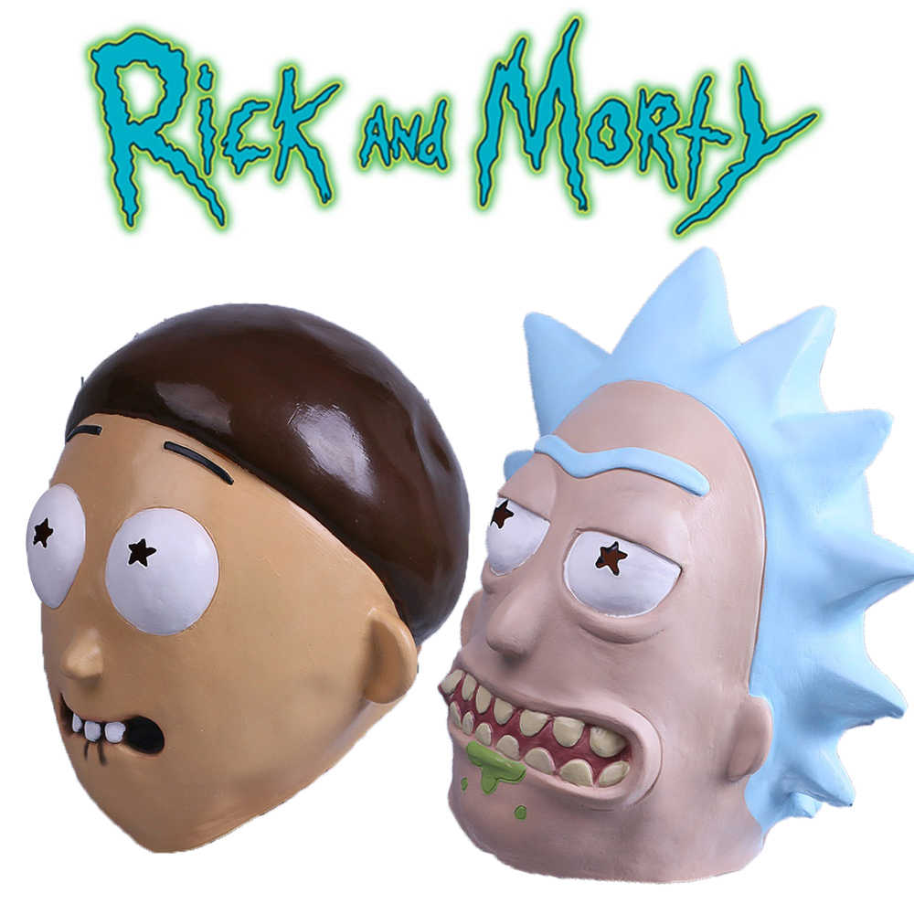 Anime Rick and Morty Mask Cosplay Helmet Cute Full Face Head Latex Hood Masks Masquerade Halloween For Women/Men Party Props