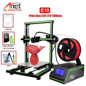 New Printer E10 Anet 3D Printer Large Print Size 220*270*300mm Offline Printing Low Noisy Cura Desktop 3D DIY Kit Printer support resume after power off creality cr 10 mini 3d printer large prusa i3 kit diy 300 220 300mm desktop education 3d printer