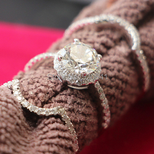guarantee real silver jewelry rings set triple 15ct sona diamond rings set for women bands - Real Diamond Wedding Rings