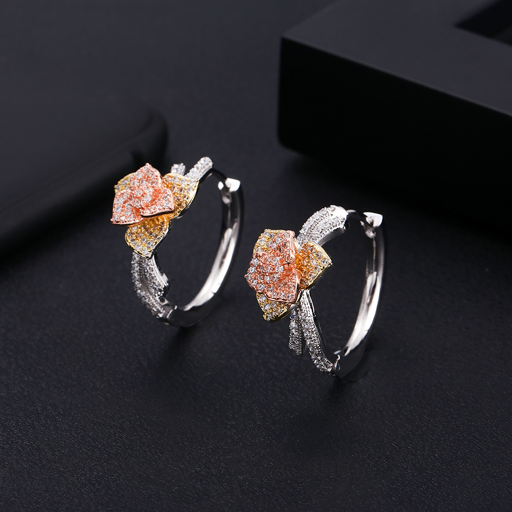 Janeklly  Trendy Geometric Circle Hoop Earrings For Women Accessories Full Cubic Zirconia Earrings Jewelry Pendientes Mujer Moda