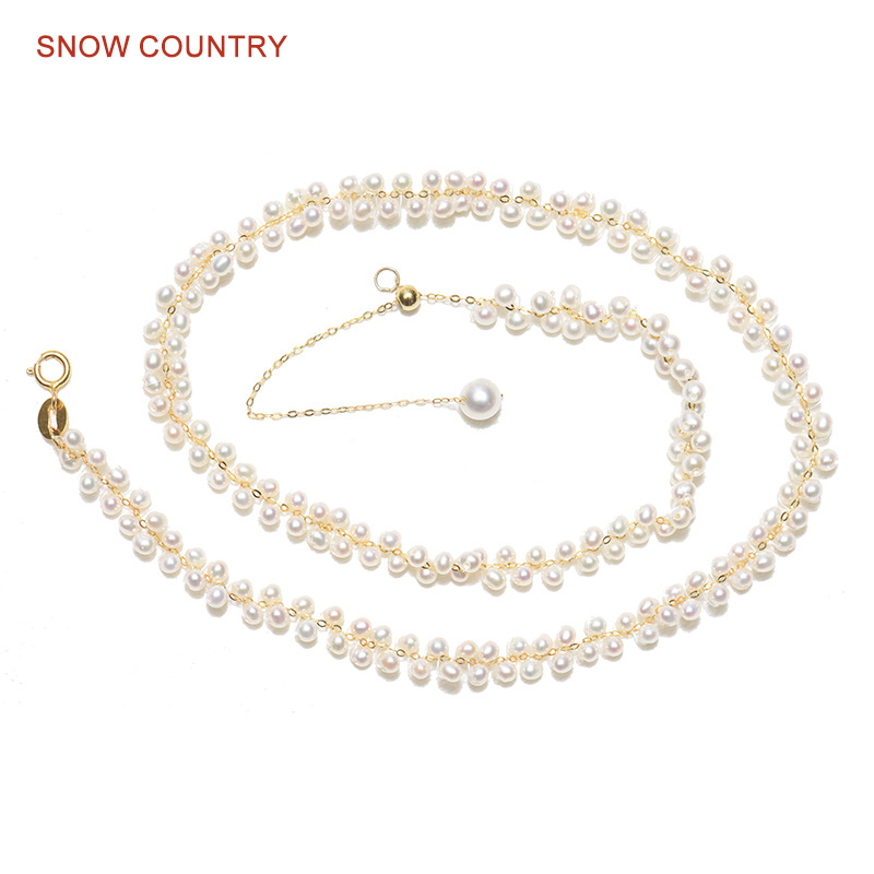 Hand Made Choker Necklace White Natural Genuine Freshwater Pearl Resizable Necklace 18K Solid Gold Gift for Wife Free Shipping yoursfs heart necklace for mother s day with round austria crystal gift 18k white gold plated