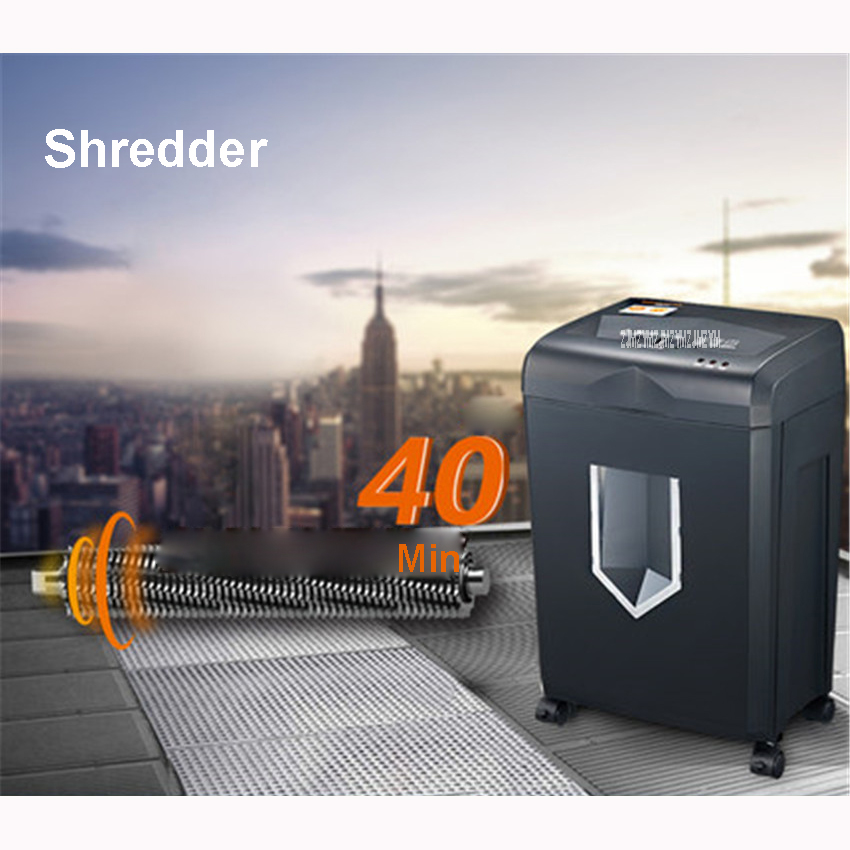 318 220V cross-cut paper / credit card shredder draw-out 18 liter basket overload capability protect Shredding size 4*20mm black