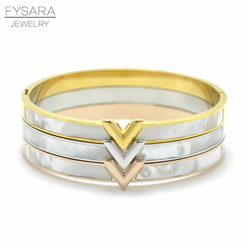 FYSARA Luxury Letter V Bangle Natural Shell Pulseira Fashion Jewelry Gold-Color Arm Cuff Bracelet For Women Bijoux Jewelry Gift stylish letter irregular shape cuff bracelet for women